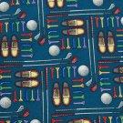 New UTOPIA GOLD CLUBS BALLS BLUE RAYON TIE NECK TIE Men Designer Tie EUC