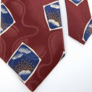 MITFORD SQAURES MAROON BLUE SILK MEN NECK TIE E Men Designer Tie EUC