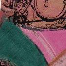 OAK TREE ART DECO 100% RAYON PINK TEAL TAN TIE NECK TIE Men Designer Tie EUC