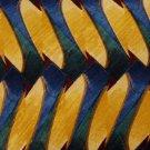 JIMMY V GoldenRod GREEN BLUE WAVES SILK MEN NECK TIE E Men Designer Tie EUC