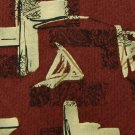 FRIDAY SOLUTION ABSTRACT MAROON BEIGE SILK MEN NECK TIE Men Designer Tie EUC
