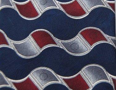PURITAN DarkBlue MAROON WAVES PATTERN SILK NECK TIE Men Designer Tie EUC