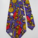 #1A PAPELL ART Necktie DECO GOLF FLAG PURPLE GOLD RED GREY  Silk Men NECK TIE