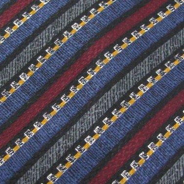 New J.Z. RICHARDS USA STRIPE GREY NAVY Yellow Silk Men Designer Tie