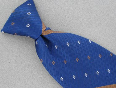 Vintage Sears Blue Brown Stripe Clipon Clip-On Germatric 60s 70s Neck Tie #V-4
