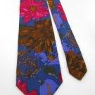 #1A THE LIMITED FLORAL UNISEX WOMAN/MAN INDIGO BROWN Silk Men Neck Tie Necktie