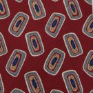 FERRELL REED NECKTIE DarkRed BLUE SHAPES SILK  Neck tie Men Designer Tie EUC