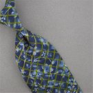 STRUCTURE BLUE OLIVEDRAB FLORAL GRID SILK MENS NECKTIE TIE #HG-11 Excellent