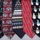 7 Christmas Xmas Holiday Silk Men's Ties Necktie Neck Tie Lot #P9D Excellent