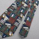 Eagle Wings Book Shelves Navy Brown Law Justice Stripe Neck Tie Men Designer EUC