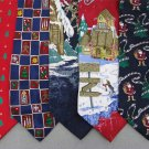 5 Christmas Xmas Holiday Silk Men's Ties Necktie Neck Tie Lot #P6 Excellent