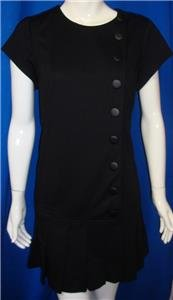Catherine Malandrino Black Noir Pleated Ponte Dress Size 14 NEW With Tags