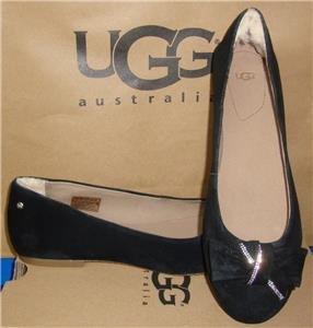 UGG Australia JACQUELINE Embellished Swarovski Crystal Bow Flats Size US 9 NIB