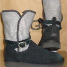 UGG Australia NYLA Black Gray Suede Knit Buckle Boots Size US 7 NEW #1005391