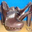 UGG Australia CELESTINA Stout Brown Leather Platform Heels Size US 7, EU 38 NEW