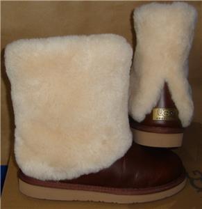 UGG Australia PATTEN Leather Sheepskin Cuff Boots Size US 7,EU 38 NEW #1008823