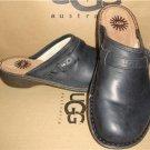 UGG Australia BRIDGEN Black Leather Mules Size US 6, EU 37 NIB #1008151