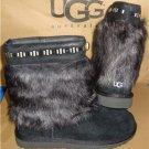 UGG Australia VILET Black Bling Suede Sheepskin Toscana Cuff Boots Size 5 NIB