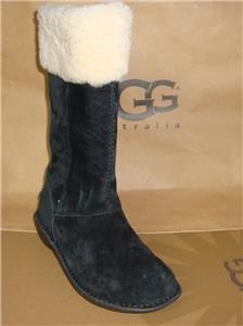UGG Australia KARYN Black Suede Sheepskin Cuff Tall Boots Size US 5 NEW #1005449