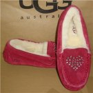 UGG Australia KIDS Annmarie heart Suede Sheepskin Moccasin Slippers Size US 13