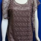 Lavish Lace Blouse with attached tank Top Size M