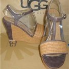 UGG Australia FITCHIE Chocolate Wedge Heels Sandals Size US 10 NIB #1006844