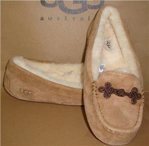 UGG Australia SUKI Chestnut Suede Sheepskin Mocassins Size US 12 NIB #1009276