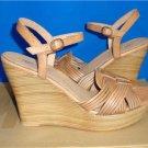 UGG Australia ALLVEY Suntan Strappy Leather Wedge Sandals Size US 9 NIB #1007057