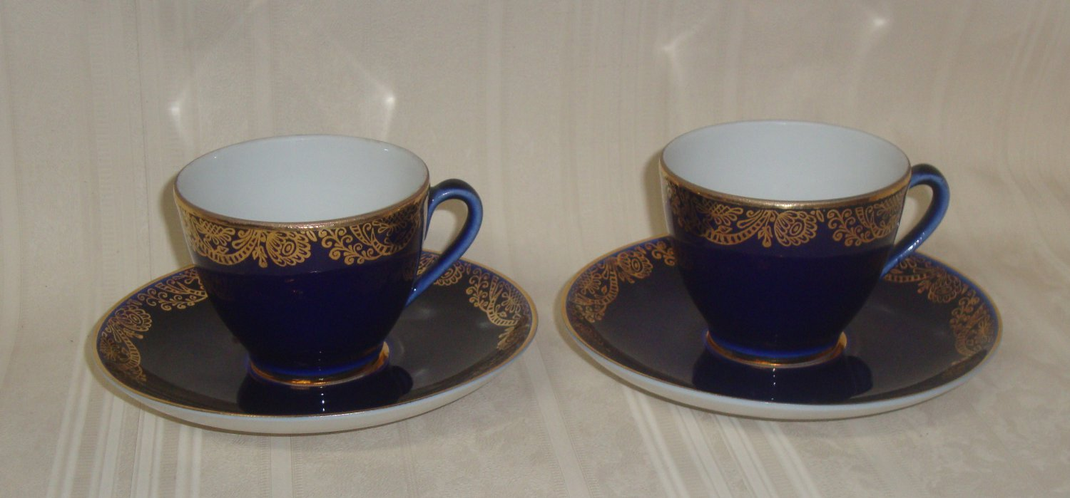 Lomonosov  Russian  Cobalt Blue with Gold Trim Cup And Saucer  2 Sets