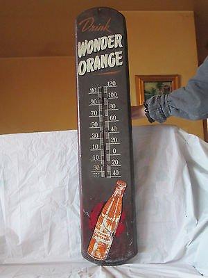 """VINTAGE 1940's WONDER ORANGE SODA POP BOTTLE 39"""" METAL THERMOMETER SIGN-ORIGINAL"""