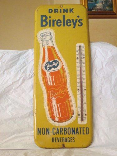 "VINTAGE 1950'S BIRELEY'S ORANGE SODA POP BOTTLE 26"" METAL THERMOMETER SIGN ORIG."