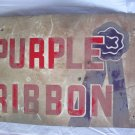 "VINTAGE 1950's PURPLE RIBBON FEED PIG COW CHICKEN FARM 18"" METAL SIGN-ORIGINAL"