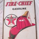 "VINTAGE 1940 TEXACO FIRE CHIEF GASOLINE GAS PUMP PLATE 18"" PORCELAIN METAL SIGN"