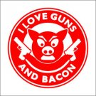 2 Pack of Custom Bacon and Guns Vinyl Decals / Stickers (2 Pack)