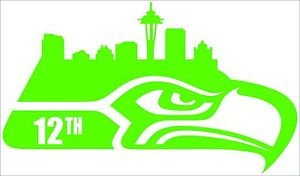 2 Pack of Custom Seattle Seahawks 12th Man Cityscape Vinyl Decals / Stickers