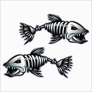 "2(TWO) PACK of ""BoneFish"" Custom Printed Vinyl Decals / Stickers"