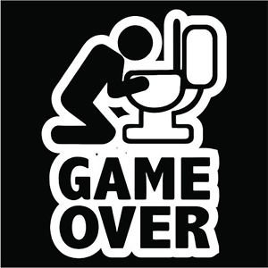 2 Pack of Game Over Vinyl Decals / Stickers