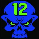 Seattle Seahawks 12th Man Skull Vinyl Decals / Stickers 2(TWO) Pack