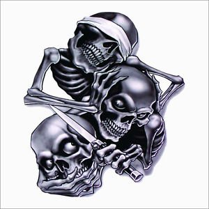 See No Evil, Speak No Evil, Hear No Evil Skeleton Vinyl Decal /Sticker