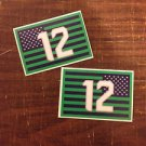Seattle Seahawks 12th Man Custom Flag Printed Vinyl Decals / Stickers (2 Pack)