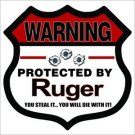 Warning Protected By Ruger 2nd Amendment Printed Vinyl Decal / Sticker