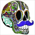 Mustache Sugar Skull Vinyl Decal / Sticker