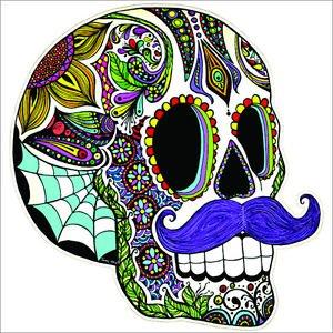 Mustache Sugar Skull Vinyl Decal / Sticker