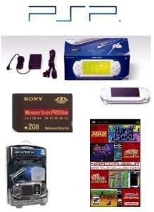 Sony PSP Giga Pack (Ceramic White) plus 21 Games and PSP Car Kit + 2GB memory card