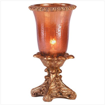AMBER CRACKLE HURRICANE LAMP