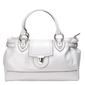 Alexandra Jordan White Leather Handbag with Brown Leather Trim