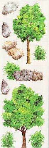Tree, Rocks and Bush Stickers