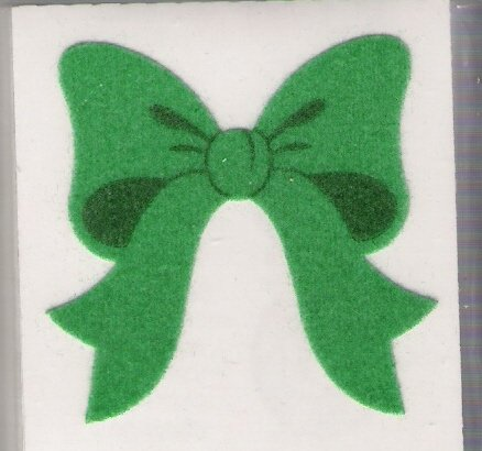 Fuzzy Green Bow Stickers