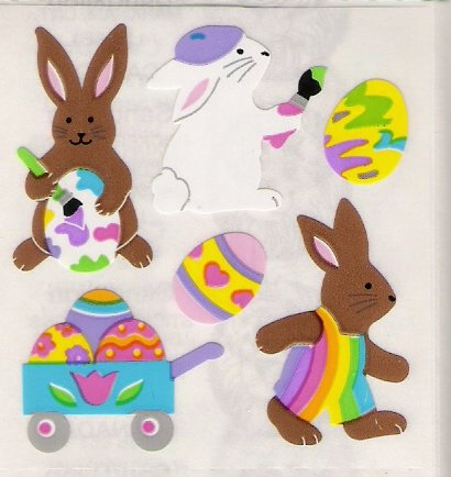 Brown Bunnies with Easter Eggs