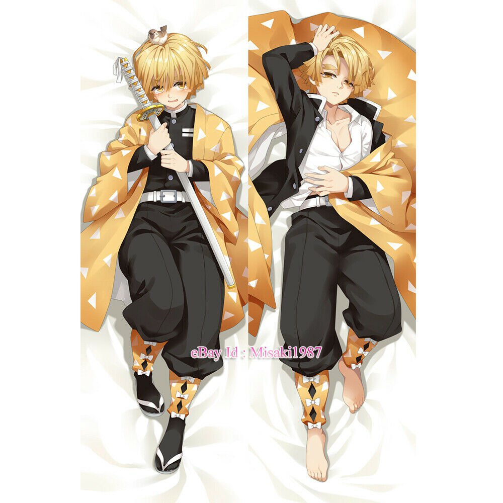 Demon Slayer Agatsuma Zenitsu Anime Dakimakura Hugging Body Pillow Case Cover